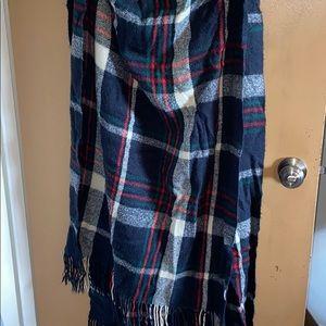 Fringe long fleece scarf